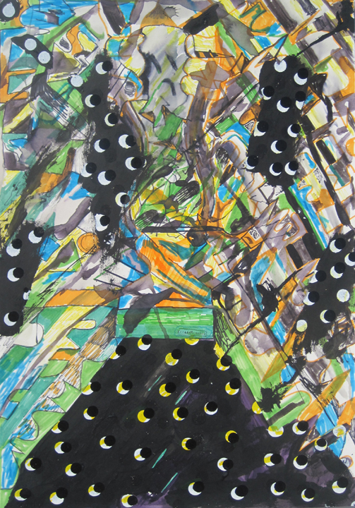 """Untitled (Tear Away Sky), 2010 enamel, ink and gouache on paper 15"""" x 22"""""""